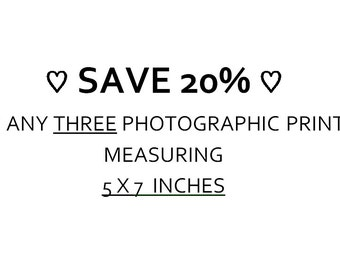 SAVE 20% - Choose Any THREE Photographic Prints Measuring 5x7 inches, Living Room Decor, Multiple Photo Set, Wallpaper Sale