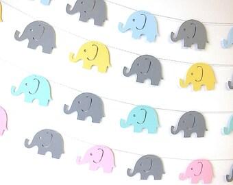 Elephant Parade Garland, Elephant Decoration, Nursery Decor, Birthday Decoration, Baby Shower