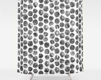 Charcoal Watercolor Polka Dot Shower Curtain - watercolor dot print shower curtain in inky black and grey scale