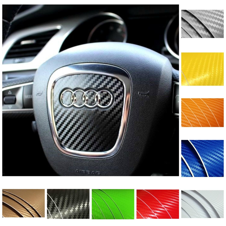 AUDI Steering Wheel Airbag Carbon Fiber Look Wrap Decal