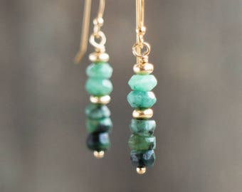 Raw Emerald Earrings, Gift for Her, Mothers Day, Gold&Silver Earrings, Gemstone Dangle Earrings, May Birthstone Jewelry, Green Drop Earrings