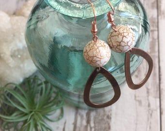 Copper Jasper Teardop Earrings
