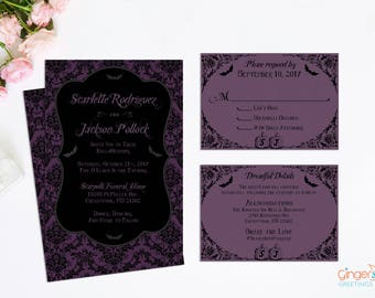 Halloween Wedding Invitations - Purple and Black