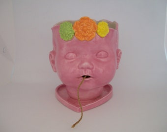 Large Ceramic Pink Doll Head Yarn Bowl