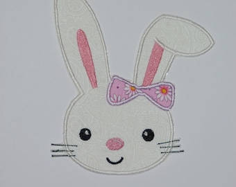 "Embroidered Iron On Applique-""Floppy Ear Bunny"" RTS"