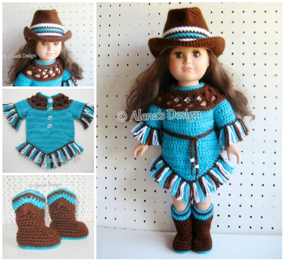 Crochet Pattern Set 18 in Doll Clothes Crochet Patterns American Doll Western Doll Outfit Boots Cowgirl Hat Dress My Life Gift for Girl