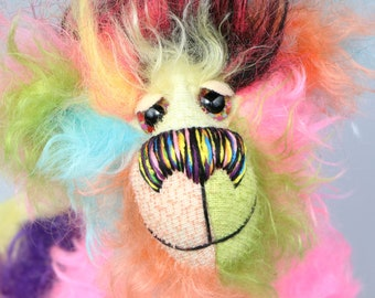 Zoiks! is a rather colourful and comical one of a kind artist bear in beautiful, fluffy hand dyed mohair and faux fur by Barbara Ann Bears