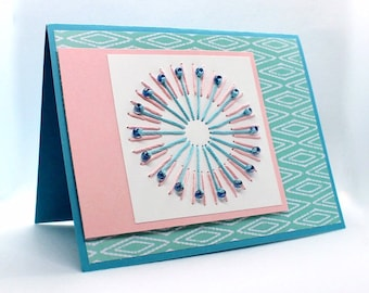 Embroidered Greeting Card with Beads - Confidence - Landscape