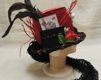 Unique / Wiccan / Gothic Black and Red Voo Doo Doll /  Velvet, leather and lace, love Potion #9 Top Hat