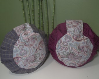 Zafu Set, Meditation Cushion, Gray Flannel and Burgundy Vine Embossed Satin Each With Paisley Print, Filled with Buckwheat Hulls