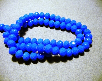 Crystal Beads Faceted Opaque Blue Rondelles 8x5MM
