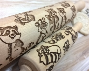 Rolling Pin Wooden Laser Cut Stylish Raccoons MIMIMI Pattern