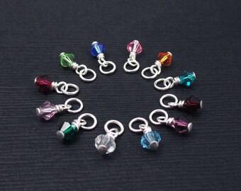 Add a Crystal Birthstone Charm Sterling Silver Birthstone Charms, Birthstone Charm Dangles