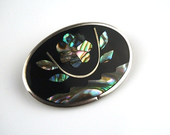 Oval Alpaca Mexican Abstract Abalone Shell Brooch Abstract Flower Pendant