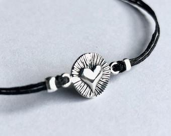 Heart Bracelet, sterling heart, love, anniversary bracelet, birthday, friendship bracelet, ready to ship, gift for her, graduation gift