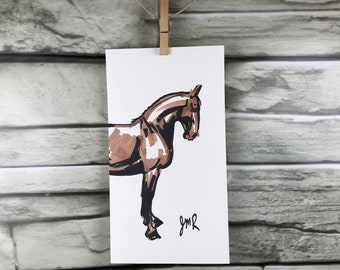 "Horse art original ""Halt"" sketch in Black and Brown artist's marker"