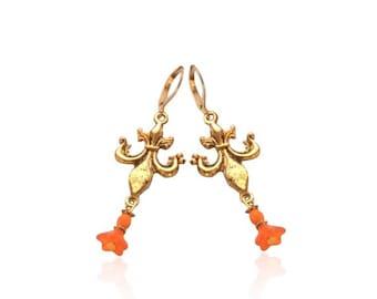 Orange Fleur De Lis Drop Earrings, Antique Gold Lily Earrings, Glass Flower Dangle Earrings, Rustic Gold Drop Earrings,Vintage Gold Earrings
