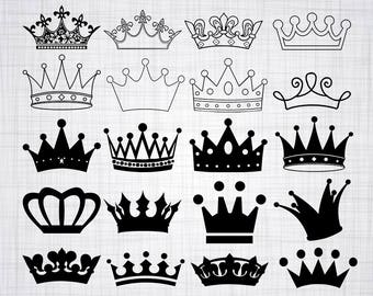 Crown SVG Bundle, Crown SVG, Crown Clipart, Crown Cut Files For Silhouette, Files for Cricut, Crown Vector, Svg, Dxf, Png, Eps, Crown Decal