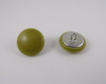 olive green leather 20mm-6 covered buttons