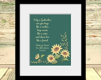 Thank You Gift for Godmother, Godparent Wall Art, Godmother Gift, Baptism Gift, Gift from Godchild, Gift for Godmother, Gift for Godfather