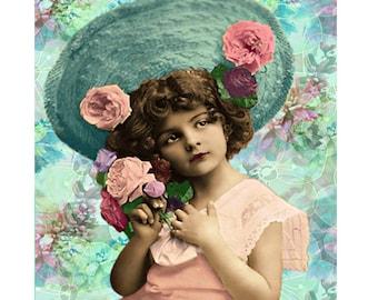 Nursery print, vintage child, digital print, childrens art, photomontage, fine art, art deco child, 1920 s young girl, childs wall art