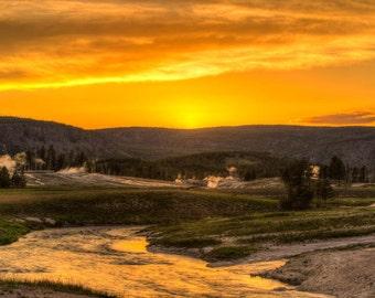 Firehole Sunset, Yellowstone National Park, Wyoming Art, Yellowstone Print, Fine Art  Photography, Nature Photography, Wyoming Art