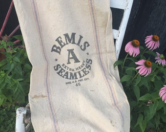 Vintage Grain Sack, Beamess Seamless Extra Heavy Cotton Canvas Fabric, Rustic Fabric, Upcyle Repurpose Farmhouse Porch Decor
