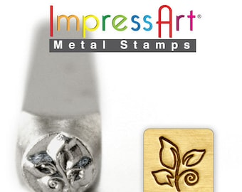 "Leaf Swirl METaL STaMP 6mm 1/4"" Steel Punch ImpressArt Stamping Whimsical Tree Foliage Tool Jewelry Making Tool"