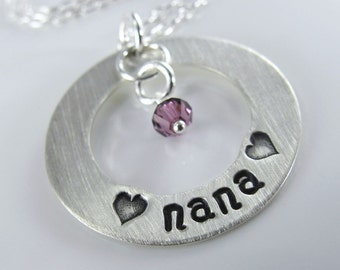 "Lots of Love Nana Necklace - 1"" Hand Stamped Personalized Sterling Silver Donut, Swarovski Birthstone Crystals"