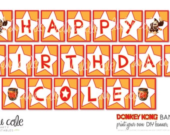 Donkey Kong DIY Printable Party Banner - Happy Birthday Banner
