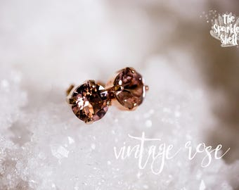 Vintage Rose Swarovski Rose Gold Post Stud Earrings - 8mm