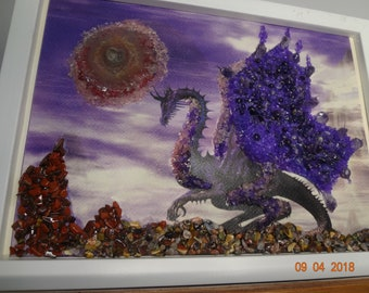 Protection Earth  Dragon with natural gemstones in Wooden frame