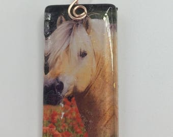 Fjordic Pony Glass Tile Pendant   Gift for Horse Lover  Domino size Glass Cabachon