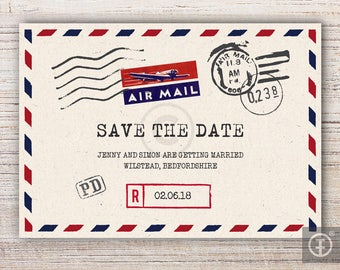 Printable Save The Date Airmail Postcard A6 - Unlimited Quantity