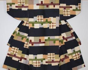 Japanese vintage silk katazome child kimono pattern of kasuri Geometric