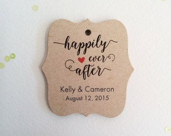 Happily Ever After Tags, Rustic Wedding Tags, Personalized Wedding Tags, Bridal Shower Thank You Tags, Set of 25 (tw13k)