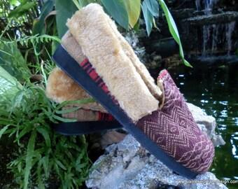 Ethnic Naga Men's Slippers In Tribal Woven Cotton Plush Lined Gift