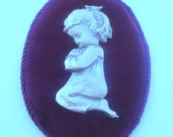 Vintage Plaque Praying Girl /Religious Gift/ 3D Pewter on Velvet/ Wall Plaque / 1970s