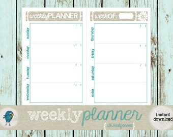 PRINTABLE Weekly Planner: Printable Weekly Planner on Two Pages, A5/Half-sheet size for your Filofax or Mini-Binder - INSTANT DOWNLOAD
