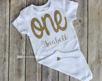 Personalized Gold first birthday bodysuit, Glitter gold One shirt, Girls first birthday outfit, Cake smash photo prop, Gold Birthday Outfit
