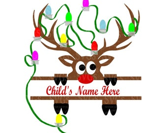 SVG - Reindeer Peeking Split with Lights - Christmas - Holiday - Tangled in the lights - Monogram - Santa - Rudolph - Reindeer Split