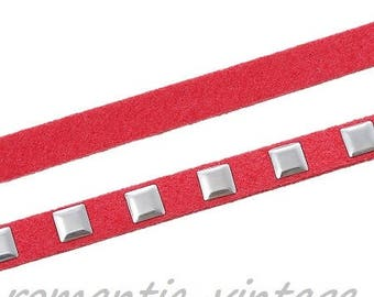 DrawString cord riveted square Silver 5mm watermelon 98 cm