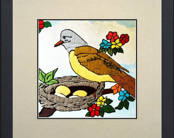 Silk painting of a Bird on his nest