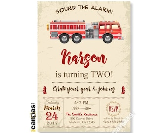 Firetruck Invitation, Vintage Fire Engine Birthday Party Fireman Firefighter Fire Fighter Invite, Printable or Printed with FREE SHIPPING 40