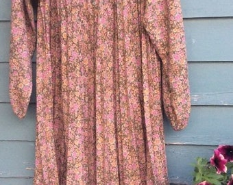 vintage Leslie Fay pleated tent maternity dress long sleeve floral