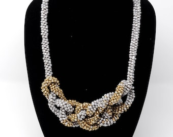Gold and Gray Kumihimo Statement Necklace