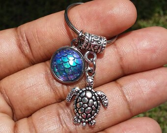 Sale.....Mermaid scales, fish scales, dragon scales, turtle charm keyring, keychain, bag charm, purse charm, custom gifts item No.919