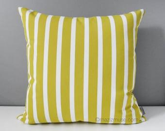Decorative Acid Yellow & White Striped Outdoor Pillow Cover, Citron Stripes, Modern Yellow Sunbrella Pillow Cushion Cover, Mazizmuse