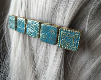 Aqua Hair Accessories or Bohemian Hair Clip Barrettes -  Hair Clip For Women - Hair Clips Women
