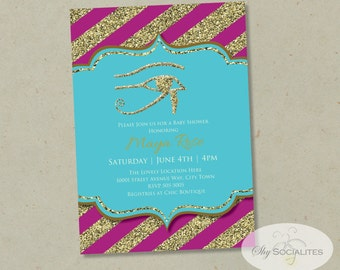 Egyptian Invitation   Fuschia & Turquoise, Eye of Horus, Baby Shower, Birthday, Bridal Shower, ANY OCCASION   Instant Download  PDF